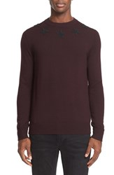 Givenchy Men's Star Applique Long Sleeve Wool Pullover Burgundy