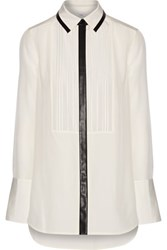 Vince Faux Leather Trimmed Silk Crepe Shirt Cream