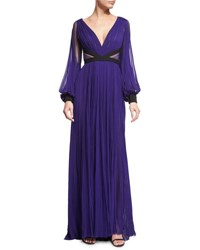 J. Mendel Long Sleeve Pleated Silk Gown Mulberry