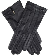 Dents Stitch Detail Leather Gloves Black