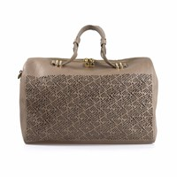 Artessorio Clarissa Leather Duffle Bag Nude Neutrals