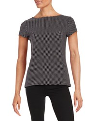 Imnyc Isaac Mizrahi Short Sleeve Boatneck Tee Black Dot