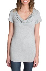 Udderly Hot Mama Women's 'Chic' Cowl Neck Nursing Tee Heather Gray