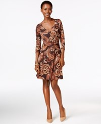 Ny Collection Petite Faux Wrap A Line Paisley Dress Brown Romesco