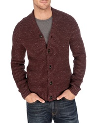 Lucky Brand Clyde Ribbed Knit Cardigan Red