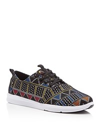 Toms Del Rey Tribal Mesh Lace Up Sneakers Black With Multi Color Tribal Print