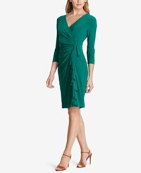 American Living Ruffled Jersey Dress Emerald