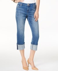 Inc International Concepts Cuffed Indigo Wash Cropped Jeans Only At Macy's