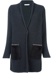 Fabiana Filippi Long Contrast Pocket Cardi Coat Grey