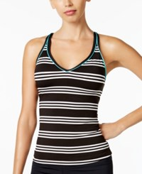 Jag Harbour Stripe Cross Back Tankini Top Women's Swimsuit Black
