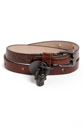 Alexander Mcqueen Men's Skull Charm Leather Double Wrap Bracelet Brown