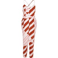 River Island Womens Red Stripe Tapered Jumpsuit