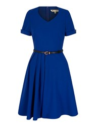 Yumi Pleated Day Dress Blue