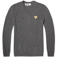Comme Des Garcons Play Gold Heart V Neck Jumper Grey