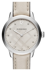 Burberry Diamond Index Check Stamped Leather Strap Watch 32Mm Stone Silver