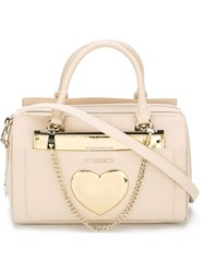 Love Moschino Heart Detail Strap Satchel Nude And Neutrals