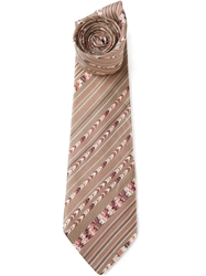 Lanvin Vintage Patterned Tie Nude And Neutrals
