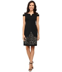 Nue By Shani Crepe Dress With Cold Shoulders And Laser Cutting Skirt Black Nude Women's Dress Multi