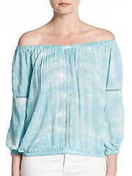 Young Fabulous And Broke Villa Off The Shoulder Top Blue