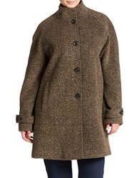 Jones New York Plus Button Front Tweed Coat Brown