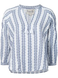 Sea Striped Tunic Blouse Blue