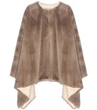 The Row Rongar Sheared Mink Fur Cape Brown