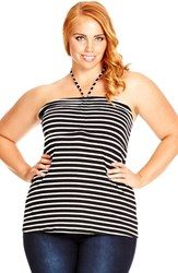 Plus Size Women's City Chic Strappy Gathered Halter Top Black