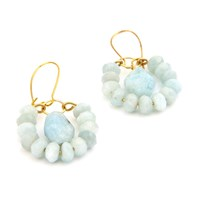 Salome Tribal Geo Aquamarine Earrings Blue Gold
