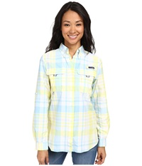 Columbia Super Bahama L S Shirt Sunnyside Shadow Check Women's Long Sleeve Button Up Yellow