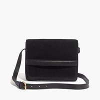 Madewell The Albury Crossbody Bag In Suede And Leather True Black