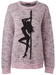 Alexander Wang Oversized Jaquard Girl Jumper Pink Purple