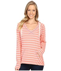 Columbia Tropic Haven Stripe Hoodie Hot Coral Stripe Women's Sweatshirt Pink