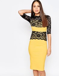 Vesper Esme Pencil Dress With Lace Overlay Yellow