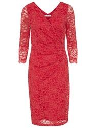Gina Bacconi Antique Corded Lace Sequinned Wrap Dress Coral