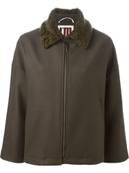 I'm Isola Marras Contrasting Collar Jacket Brown