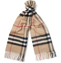 Burberry Checked Cashmere Scarf Brown