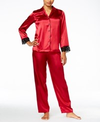 Thalia Sodi Contrast Trimmed Pajama Set Only At Macy's Cranberry Zing
