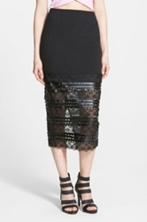 Sister Jane Hem Faux Leather Panel Midi Skirt Black