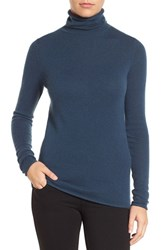 Halogenr Petite Women's Halogen Wool And Cashmere Funnel Neck Sweater Navy Midnight