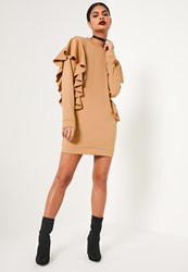 Missguided Nude Frill Sleeve High Neck Jumper Dress