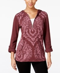 Styleandco. Style Co. Printed Zip Neck Hoodie Only At Macy's Dried Plum