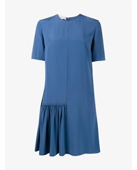 Stella Mccartney Silk Dress With Pleated Front Blue White