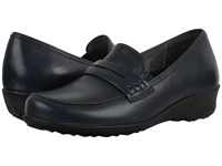 Drew Shoe Berlin Navy Smooth Leather Women's Slip On Shoes Blue