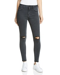 Hidden High Waist Skinny Jeans In Faded Black Distressed
