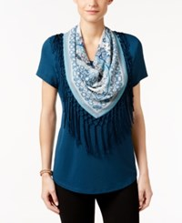 Styleandco. Style Co. Petite T Shirt With Printed Scarf Only At Macy's New Rustic Teal