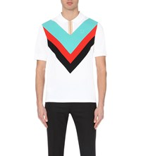 Fred Perry Chevron Print Cotton Pique Polo Shirt White