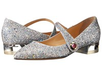 Charlotte Olympia Uma Fantasy Silver Women's Dress Flat Shoes
