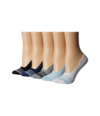 Steve Madden 5 Pack Athletic Stripe Footie With Ribbed Arch Support Multicolor Women's No Show Socks Shoes