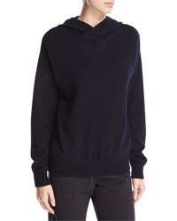 Vince Crossover Cashmere Wool Hoodie Sweater Coastal Blue