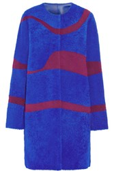 Roksanda Ilincic Pelier Reversible Shearling Coat Bright Blue